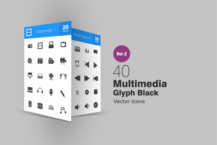 Thumbnail for 40 Multimedia Glyph Icons