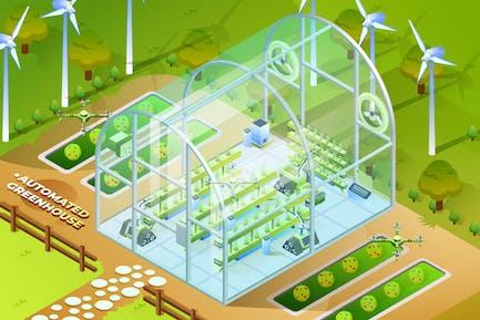 Automated Greenhouse - Isometric Illustration
