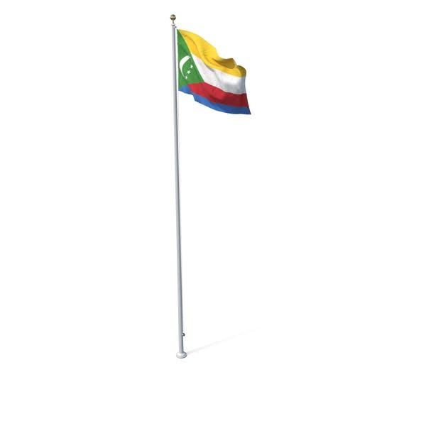 Flag on Pole Comoros