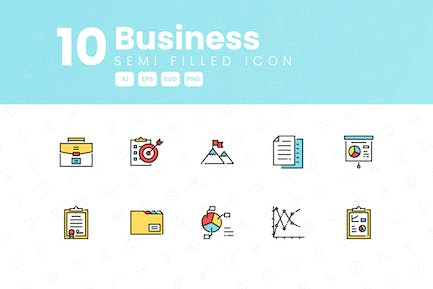 10 Business Semi Filled Icon Collection