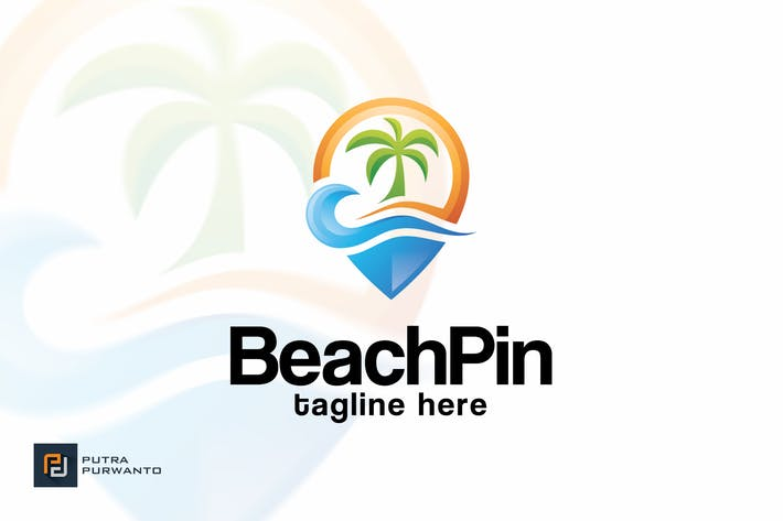 Thumbnail for Beach Pin - Logo Template