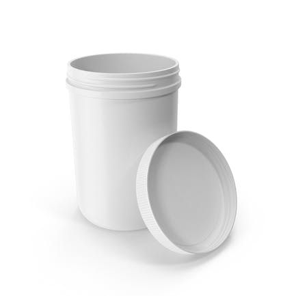 Plastic Jar Wide Mouth Straight Sided 70oz Open White