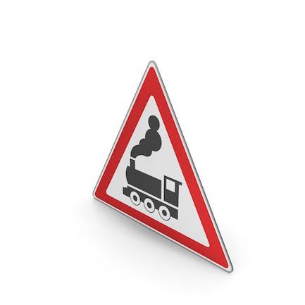 Verkehrsschild Bahnübergang voraus ohne Tore oder Barrieren