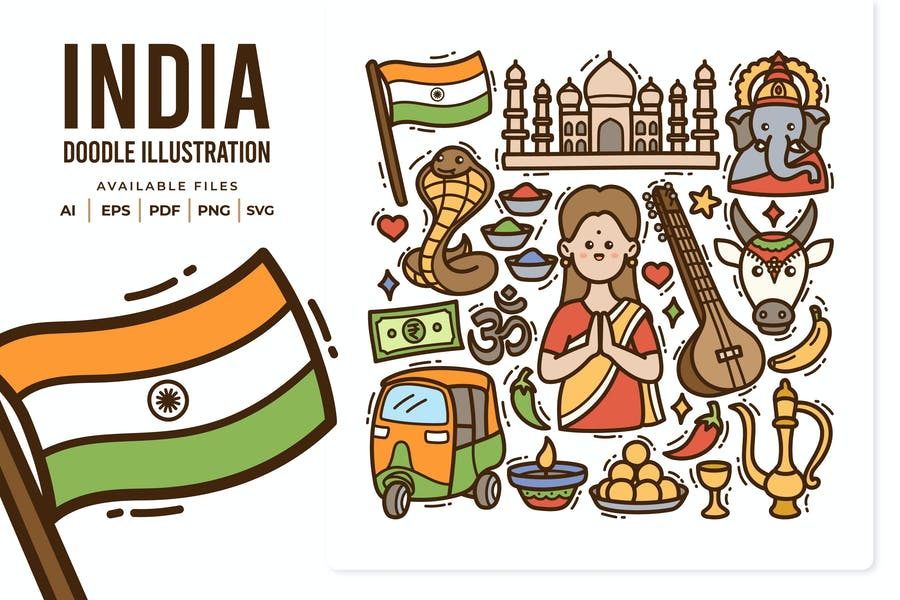 India Doodle Illustration