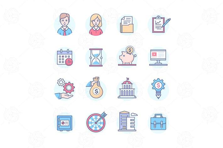 Thumbnail for Business - set of line design style icons