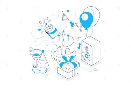 Birthday Party - Line Isometric Illustration