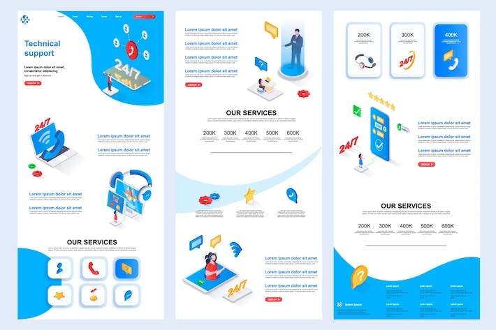 Thumbnail for Technical Support Isometric Landing Page Template
