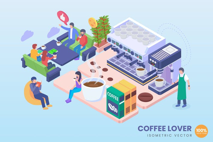 Thumbnail for Isometric Coffee Lover Concept Illustration