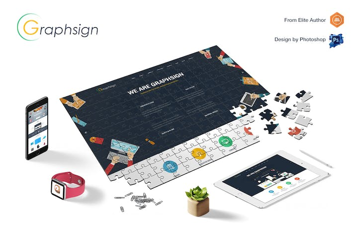 Cover Image For Graphsign - Creative One Page Multi-Purpose PSD