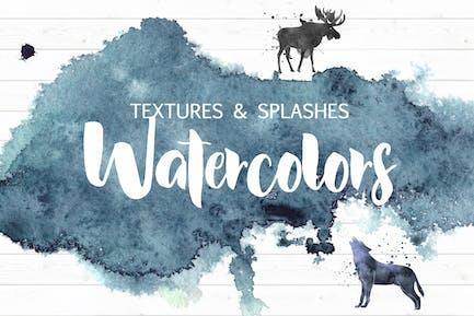 Watercolor textures&splashes