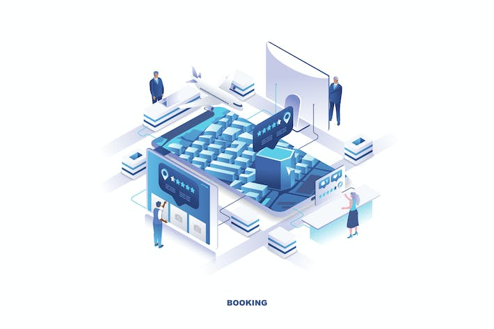 Thumbnail for Booking Isometric Banner Flat Concept