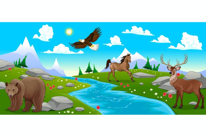 Mountain Landscape with River and Animals