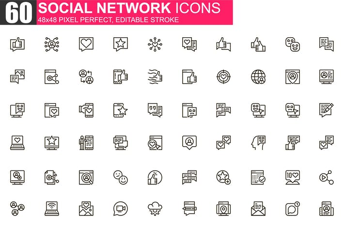 Thumbnail for Social Network Thin Line Icons Pack