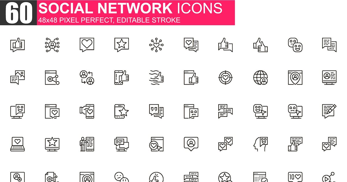 Download Social Network Thin Line Icons Pack by alexdndz