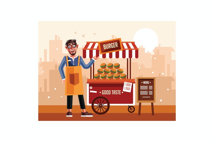 Thumbnail for Burger Street Food Cart with Seller