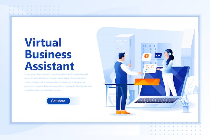 Thumbnail for Virtual Business Assistan Flat Landing Page Header