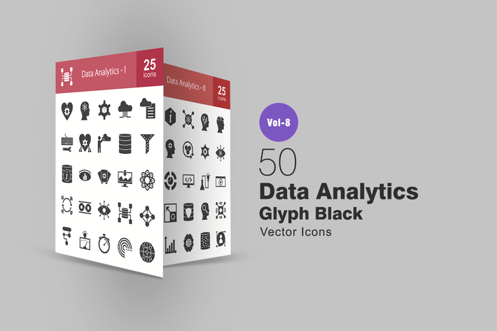 Thumbnail for 50 Data Analytics Glyph Icons