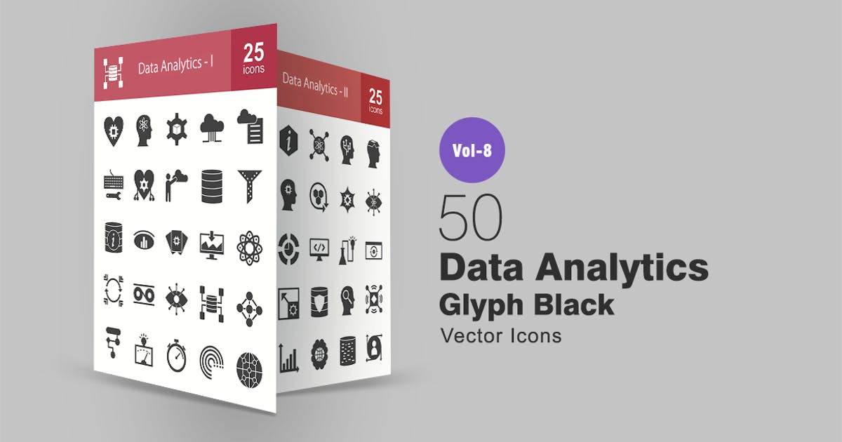 Download 50 Data Analytics Glyph Icons by Unknow