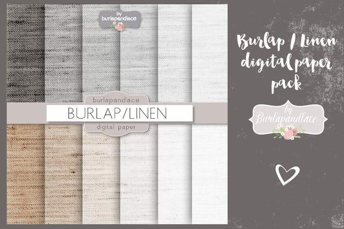 Thumbnail for Burlap/linen grey digital paper pack