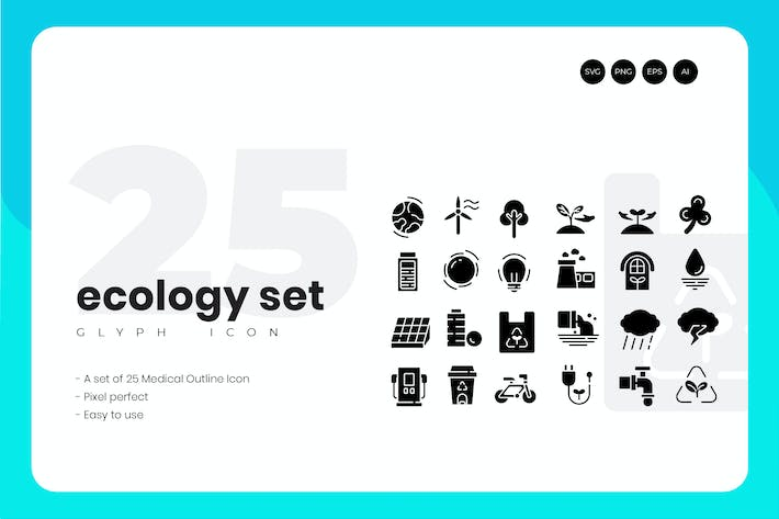 Cover Image For 25 Ecology Glyph Icon Set