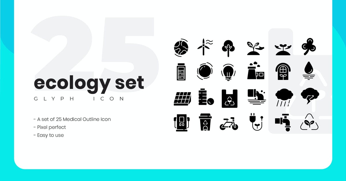 Download 25 Ecology Glyph Icon Set by vectorclans