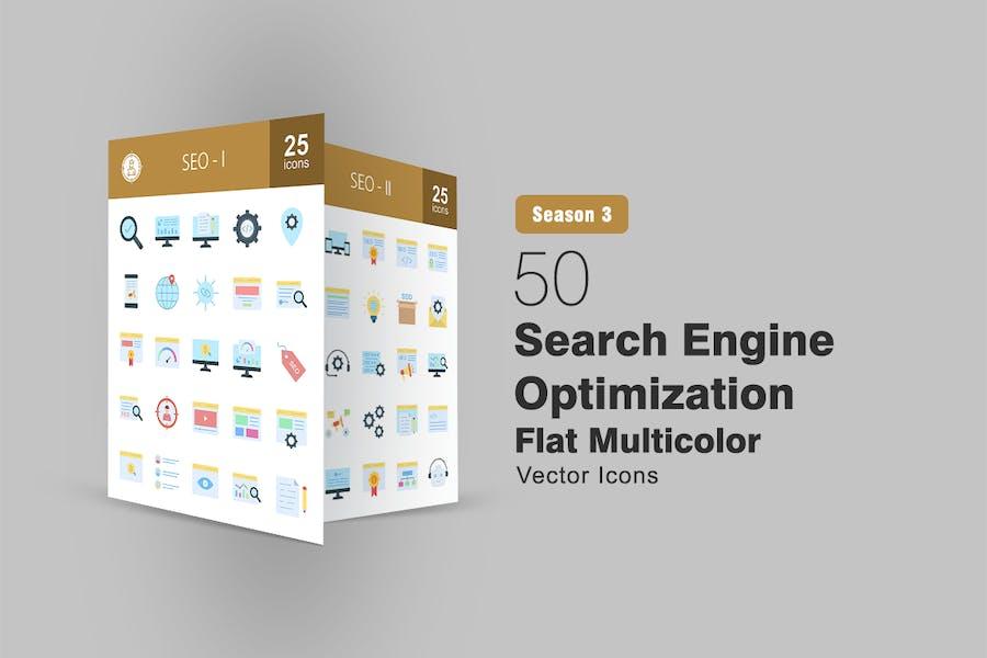 50 Icono plano multicolor de optimización de motores de búsqueda