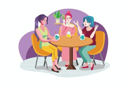 Smiling friends meeting and talking in coffee shop