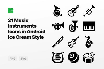 Music instruments Icons in Android Ice Cream Style