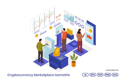 Cryptocurrency Marketplace Isometric