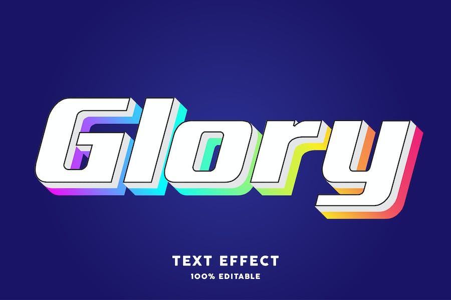 Glory gradient text style effect