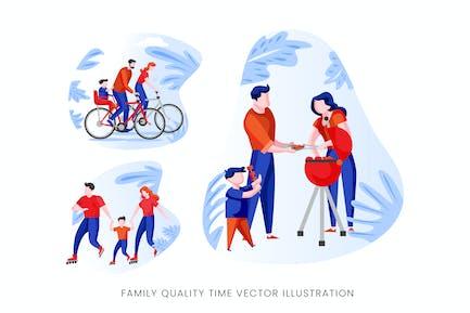 Family Quality Time Vektor Zeichensatz