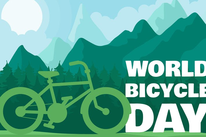 Thumbnail for World Bicycle Day In Forest Illustration