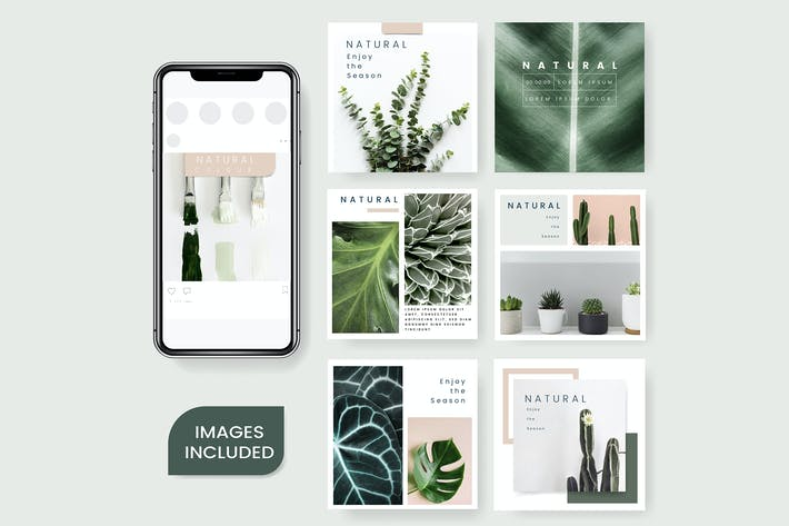 Thumbnail for Natural Plants design set Templates