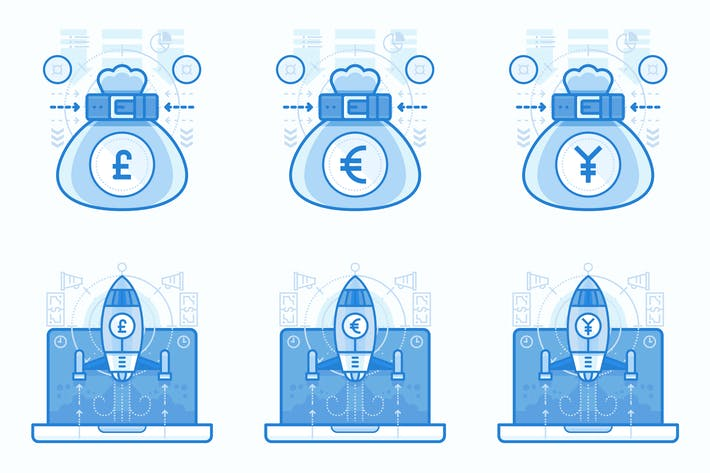 Thumbnail for Currencies and Finances UI UX Illustrations