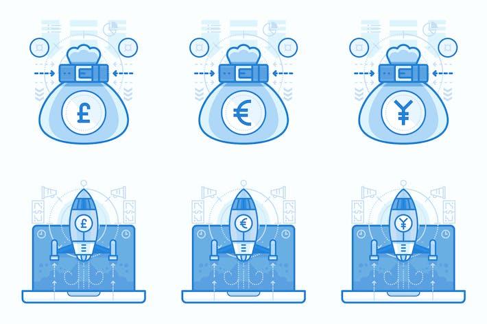 Валюты и финансы UI UX иллюстрации