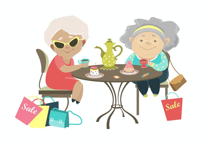 Thumbnail for Two old women talking in a cafe after shopping.
