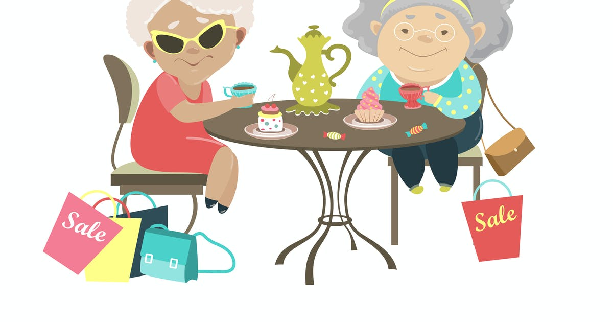 Download Two old women talking in a cafe after shopping. by masastarus