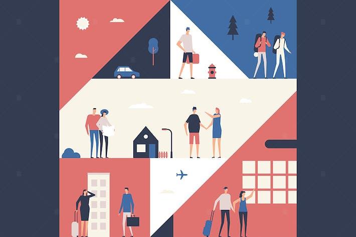 Touristen - flaches Design konzeptionelle Illustration