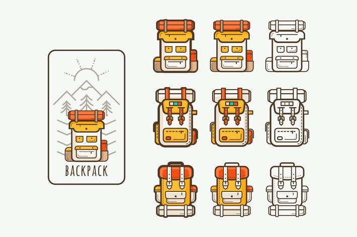Thumbnail for vector icons with backpacks for hicking