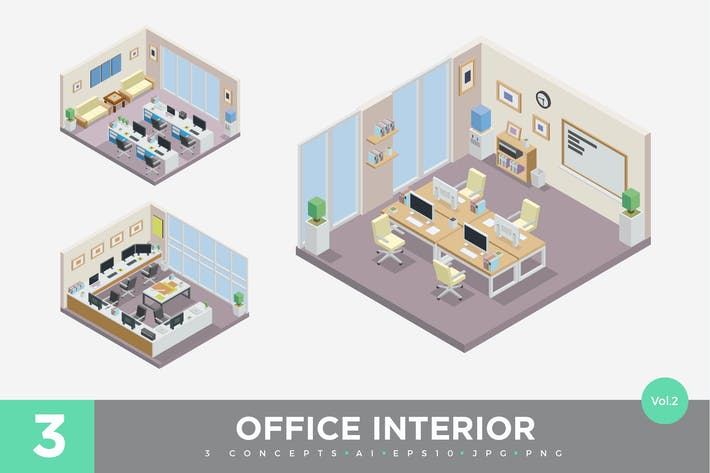 Thumbnail for 3 Isometric Office Cubical Interior Vector Set 2