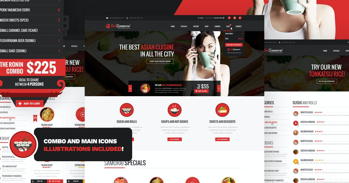 Download Red Samurai - Sushi and Asian Restaurant HTML by Odin_Design