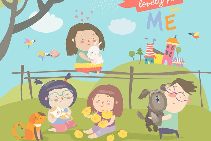 Thumbnail for Happy children with pets on green meadow. Vector