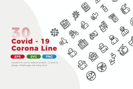 30 Corona Covid 19 Line Icon Pack