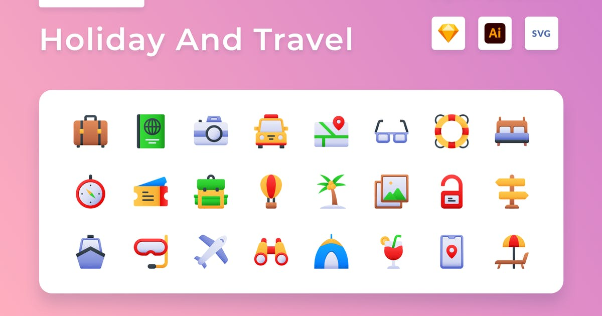 Download Holiday And Travel Gradient Icon Set by usedesignspace