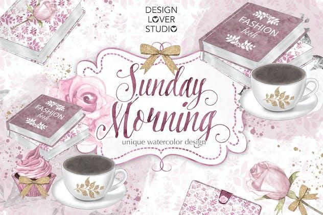 Watercolor Sunday Morning design