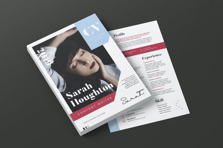 Thumbnail for Clean Minimalist CV Resume AI and PSD Flyer Vol.32