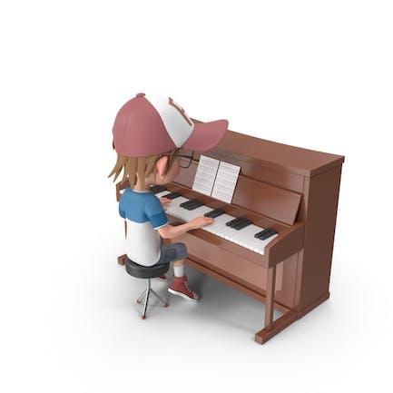 Cartoon Boy Harry Playing Piano