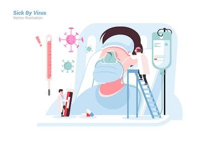 Sick By Virus - Vector Illustration