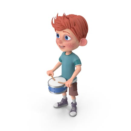Cartoon Boy Charlie Playing Snare Drum