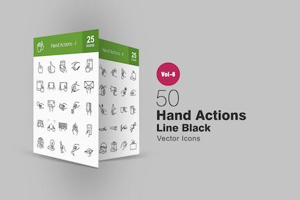 50 Íconos de línea de Acciones manuales